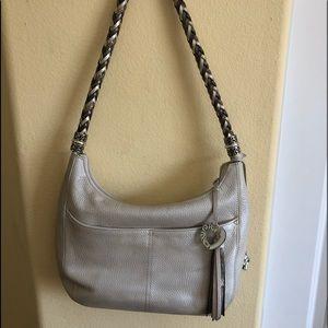 Brighton Pearl White Braided Strap Leather Bag